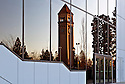 WA12129-00...WASHINGTON - The Clock Tower reflected in the windows of the Performing Arts Center at Riverfront Park in downtown Spokane.