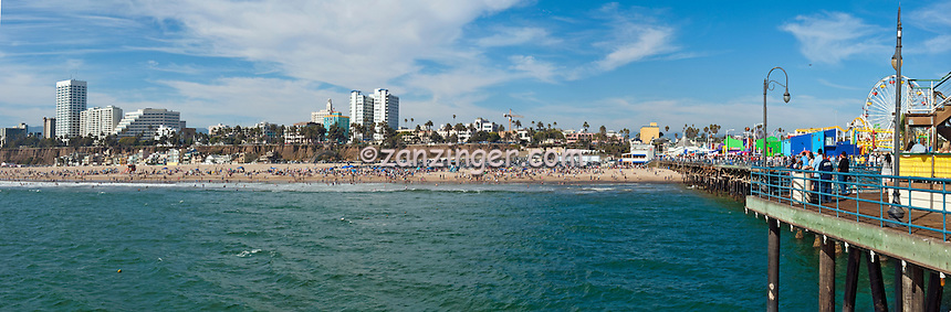 Santa Monica, CA, Hotels, Pacific, Park, Pier, Beach, Travel, Destination, View, Unique, Quality, Beautiful, Sunny, Day, Panorama CGI Backgrounds, ,Beautiful Background