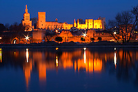 Pope's Palace in Avignon and the Rhone river at sunset, Vaucluse, Rhone, Provence, France