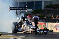 May 18, 2012; Topeka, KS, USA: NHRA top fuel dragster driver Shawn Langdon during qualifying for the Summer Nationals at Heartland Park Topeka. Mandatory Credit: Mark J. Rebilas-