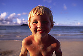 Boy on beach, Hawaii<br />