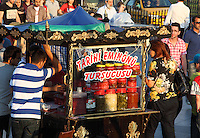 Mobile food stall at Eminonu, Istanbul, Marmara, Turkey. Eminonu is on the South bank of the Golden Horn at the Southern end of the Galata bridge. Picture by Manuel Cohen