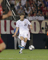 USA defender Clarence Goodson (21) passes the ball. In the Send Off Series, the Czech Republic defeated the US men's national team, 4-2, at Rentschler Field in East Hartford, Connecticut, on May 25, 2010.