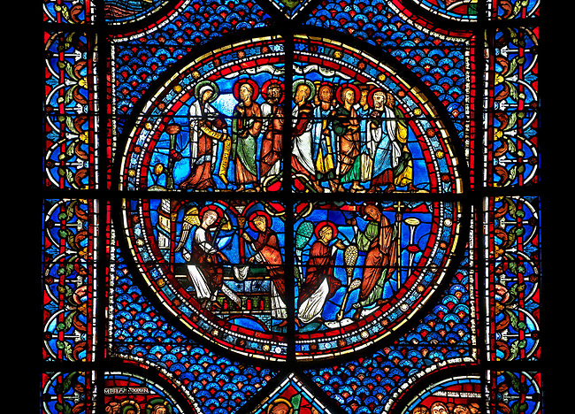 Medieval stained glass Window of the Gothic Cathedral of ...