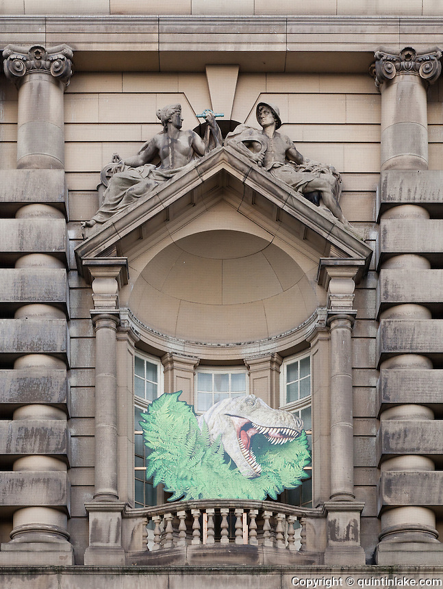 Dinosaur poster on the facade of the World Museum, Liverpool
