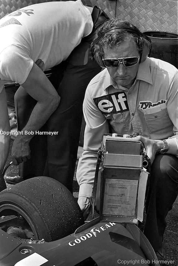 Derek Gardner (right), designer of the Tyrrell P34 six-wheel Formula 1 car, in the pit lane during practice for the 1976 Grand Prix of Monaco.