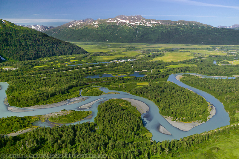 Aerial of Portage Creek, which flows out of Portage lake through the Portage Valley and into the Turnagain Arm, Alaska