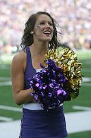 2013-09-21: Washington cheerleader Rachel Huschka entertained fans during the game  against Idaho State.  Washington won 56-0 over Idaho State in Seattle, WA.