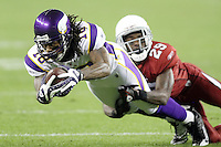12/06/09 Glendale, Arizona: Minnesota Vikings wide receiver Sidney Rice #18 in action against the Arizona Cardinals during an NFL game played at University of Phoenix Stadium. The Cardinals defeated the Vikings  30-17
