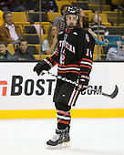 Braden Pimm (Northeastern - 14) - The Boston College Eagles defeated the Northeastern University Huskies 5-4 in their Hockey East Semi-Final on Friday, March 18, 2011, at TD Garden in Boston, Massachusetts.