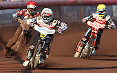Heat 1: Hans Andersen (white), Davey Watt (red) and Simon Stead (yellow) - Lakeside Hammers vs Swindon Robins at the Arena Essex Raceway, Pufleet - 18/06/12 - MANDATORY CREDIT: Rob Newell/TGSPHOTO - Self billing applies where appropriate - 0845 094 6026 - contact@tgsphoto.co.uk - NO UNPAID USE..