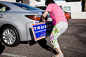 PHOENIX, ARIZONA, USA, 19/10/2016:<br /> Campaign for Donald Trump at the republican party headquarters.haron Shuster is collecting the flyers from Kathy Hedges.<br /> Arizona, traditionally very republican state, has become a swing state with both main candidates equally scoring in polls. (Photo by Piotr Malecki / Napo Images)