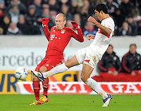 Fussball 1. Bundesliga:  Saison   2011/2012    16. Spieltag VfB Stuttgart - FC Bayern Muenchen  11.12.2011 Arjen Robben (li, FC Bayern Muenchen) gegen Maza Rodriguez (VfB Stuttgart)
