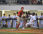 Ole Miss' Taylor Hightower (13) scores behind Georgia catcher Brandon Stephens in college baseball action at Oxford-University Stadium in Oxford, Miss. on Friday, April 8, 2011. Georgia won 9-8.