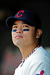 6 September 2009: Cleveland Indians' right fielder Shin-Soo Choo looks out from the dugout prior to a game against the Minnesota Twins at Progressive Field in Cleveland, Ohio. The Indians defeated the Twins 3-1 to take the rubber match of their three-game weekend series. Mandatory Credit: Ed Wolfstein Photo