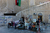 Tripoli, Libya, August 24, 2011.Jubilant rebels on Green Square, already renamed 'Martyrs Square..