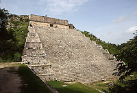The Grand Pyramid or Great Temple, commonly the Great pyramid, 8th century, reconstructed 1972-3, Puuc architecture, Uxmal late classical Mayan site, flourished between 600-900 AD, Yucatan, Mexico Picture by Manuel Cohen