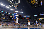 07 April 2014: Aaron Harrison (2) of the University of Kentucky dunks against the University of Connecticut during the 2014 NCAA Men's DI Basketball Final Four Championship at AT&T Stadium in Arlington, TX. Connecticut defeated Kentucky 60-54 to win the national title. Peter Lockley/NCAA Photos