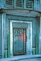 Robert Mallet-Stevens: Cite Mallet-Stevens, Rue Mallet-Stevens. Door detail, entrance. 1926-27. Photo '90.