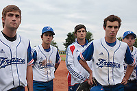 18 August 2010: Thomas Dourlens, Andy Pitcher, Eloi Secleppe, Sebastien Duchossoy are seen after  the France 7-3 win over Ukraine, at the 2010 European Championship, under 21, in Brno, Czech Republic.
