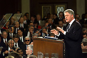 "United States President Bill Clinton delivers the State of the Union Address before a Joint Session of Congress in Washington, D.C. on January 19, 1999.   Clinton said, ""I stand before you to report that the state of our union is strong.""                                                                     .Credit: Win McNamee / Pool via CNP"
