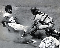 San Francisco Giants 1973 photo,Gary Maddox slides into home, San Diego catcher Fred Kendall.<br />(photo/Ron Riesterer/photoshelter)
