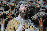 St John preaching, polychrome high relief in the second row on the North side of the Gothic choir screen in the North ambulatory, 1490-1530, commissioned by canon Adrien de Henencourt and made by the sculptor Antoine Ancquier, depicting the life of St John the Baptist, at the Basilique Cathedrale Notre-Dame d'Amiens or Cathedral Basilica of Our Lady of Amiens, built 1220-70 in Gothic style, Amiens, Picardy, France. Amiens Cathedral was listed as a UNESCO World Heritage Site in 1981. Picture by Manuel Cohen