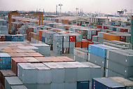 October 1984. Shanghai new Harbor, the container storing area.
