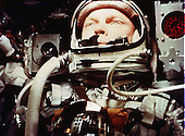 Astronaut John H. Glenn Jr. is pictured aboard the MA-6/Friendship 7 capsule on February 20, 1962 during the U.S.'s initial orbital flight..Credit: NASA / CNP