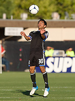 Rafael Baca of Earthquakes in action during the game against Chivas USA at Buck Shaw Stadium in Santa Clara, California on September 2nd, 2012.   San Jose Earthquakes defeated Chivas USA, 4-0.