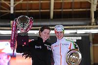 SCHAATSEN: BERLIJN: Sportforum, Essent ISU World Cup Speed Skating | The Final, 10-03-2012, Podium World Cup 1500m Ladies, Christine Nesbitt (CAN), Marrit Leenstra (NED), ©foto Martin de Jong
