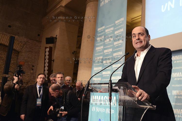 Roma, 26 Febbraio 2013.Tempio di Adriano..Nicola Zingaretti in conferenza stampa dopo i risultati delle elezioni che lo proclamano Presidente della Regione Lazio
