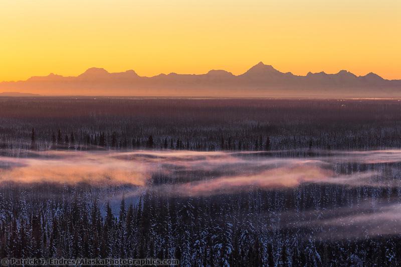 January sunrise over the Alaska Range mountains as seen from the city of Fairbanks, Alaska.