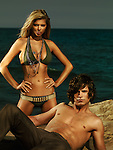 High fashion photo of a young woman in army style bikini and a young man on the beach
