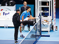 Novak Djokovic training with coach Boris Becker during a media day at the Barclays ATP World Tour Finals at The O2 centre, North Greenwich, London.