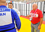 LONDON, ENGLAND – 08/26/2012:  Tony Walby, Tim Rees and coach Tom Thomson of the Canadian Judo Team during a training session at the London 2012 Paralympic Games at Mayesbrook Park SportHouse. (Photo by Matthew Murnaghan/Canadian Paralympic Committee)