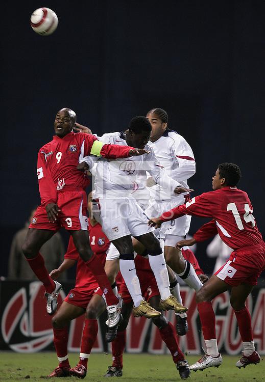 Julio Dely Valdes, left, Eddie Johnson, middle, Oguchi Onyewu, right, Panama vs USA, World Cup qualifier at RFK Stadium, 2004.