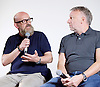 Peter Hook, Mike Pickering and Graeme Park reunited for a special event ahead of the release of the HACIENDA CLASSICAL album (on 21st Oct 2016) this month, and the airing of the HACIENDA HOUSE ORCHESTRA documentary on Channel 4.<br /> 13th October 2016 <br /> Central London, Great Britain <br /> <br /> Peter Hook is executive producer of HACIENDA CLASSICAL.  It takes the un-mistakeable sound of legendary Manchester club FAC 51 The Hacienda, and puts a symphonic spin on classics such as 'You've Got the Love' and 'Ride on Time'. The album follows unprecedented demand for live HACIENDA CLASSICAL shows, including a Royal Albert Hall concert which sold out in minutes<br /> Graeme Park<br /> Peter Hook<br /> <br /> <br /> <br /> Photograph by Elliott Franks <br /> Image licensed to Elliott Franks Photography Services