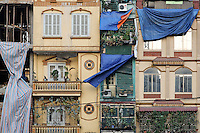 Facade of Tube Houses on Tran Nhat Duat Street, Hanoi, Vietnam