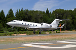 N308AB, a Gulfstream Aerospace model Gulfstream IV takes off from the Nevada County Airport after a brief stop during the 2005 Nevada County Airfest. The Gulfstream IV was first introduced in 1987 and production ceased in 2003.