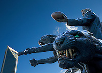 Charlotte Snow Photography - Photography of the Carolina Panthers' owner Jerry Richardson statue &quot;The Tribute&quot; outside of Bank of America Stadium in Charlotte North Carolina. <br /> <br /> Charlotte Photographer - PatrickSchneiderPhoto.com