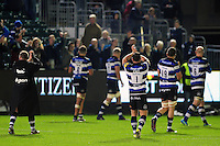 The Bath Rugby team tour the field acknowledging the supporters after the match. Aviva Premiership match, between Bath Rugby and Sale Sharks on October 7, 2016 at the Recreation Ground in Bath, England. Photo by: Patrick Khachfe / Onside Images