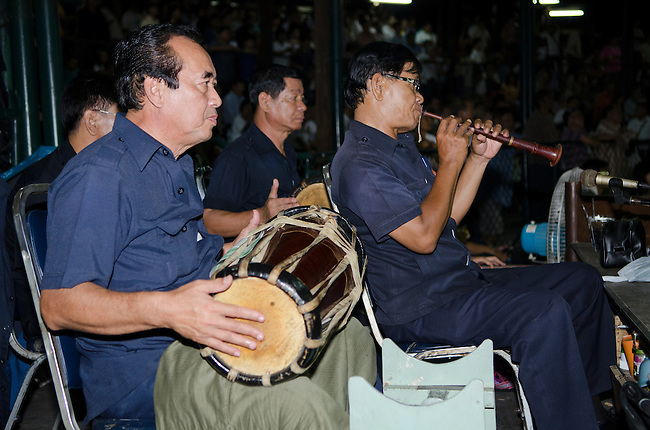 Bangkok, August 30,2011 Lumpini Muay Thai boxing stadium; traditional Muay Thai music played to accompany the kick boxer's battle is played on woodwind and percussion instruments.
