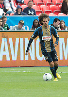 15 September 2012: Philadelphia Union midfielder/defender Gabriel Farfan #15 in action during an MLS game between the Philadelphia Union and Toronto FC at BMO Field in Toronto, Ontario..The game ended in a 1-1 draw..
