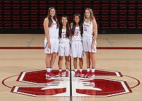 STANFORD, CA - September, 20, 2016: The 2016-2017 Stanford Women's Basketball Team. Shannon Coffee (2), Marta Sniezek (13), Alexa Romano (22), Alanna Smith (11).