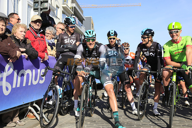 Team Sky and Cannondale-Drapac riders wait for the start of Gent-Wevelgem in Flanders Fields 2017, running 249km from Denieze to Wevelgem, Flanders, Belgium. 26th March 2017.<br /> Picture: Eoin Clarke   Cyclefile<br /> <br /> <br /> All photos usage must carry mandatory copyright credit (&copy; Cyclefile   Eoin Clarke)