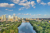 Another aerial view of downtown Austin from Zilker park with LadyBird Lake along with the Lamar street bridge, first street bridge and congress bridges that cross the lake.  On this day they were letting water downstream so it was one of those rare days without anyone on the lake.We were able to capture this high quality aerial image because we use a full frame camera on our drone for out still photographs so we can get the best image which can be printed easlity as a 20 x 60 or larger size without loss of resolution.