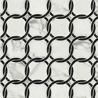 Connecting Circles, a natural stone waterjet mosaic shown in Calacatta and polished Nero Marquina, is part of the Silk Road Collection by Sara Baldwin for New Ravenna Mosaics. <br />