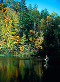 Fly fisherman with fall color, on the dead River in Marquette county in Michigan's Upper Peninsula.