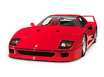 Red 1987 Ferrari F40 Sports Car isolated on white background with clipping path